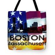Boston Ma Patriotic Large Cityscape Tote Bag