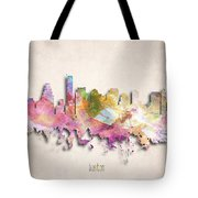 Boston Painted City Skyline Tote Bag