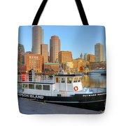 Boston Skyline And Thompson Island Ferry I Tote Bag