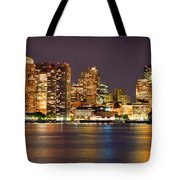 Boston Skyline At Night Panorama Tote Bag by Jon Holiday