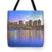 Boston Skyline By Night Tote Bag