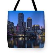 Boston Skyline Seaport District Tote Bag
