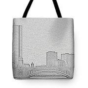 Boston Skyline Stencil Tote Bag