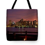 Boston Skyline Sunset Tote Bag