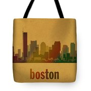Boston Skyline Watercolor On Parchment Tote Bag