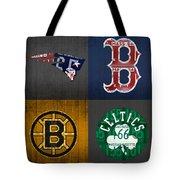 Boston Sports Fan Recycled Vintage Massachusetts License Plate Art Patriots Red Sox Bruins Celtics Tote Bag