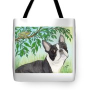 Boston Terrier Dog Tree Frog Cathy Peek Art Tote Bag