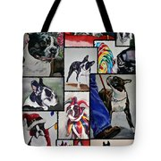 Boston Terrier Watercolor Collage Tote Bag