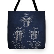 Bottle Cap Fastener Patent Drawing From 1907 - Navy Blue Tote Bag