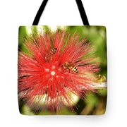 Powder Puff Flower With Bees Tote Bag