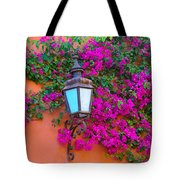 Bougainvillea And Lamp, Mexico Tote Bag