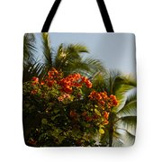 Bougainvilleas And Palm Trees Swaying In The Wind In Waikiki Honolulu Hawaii Tote Bag