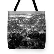 Boulder Colorado City Lights Panorama  Black And White Tote Bag