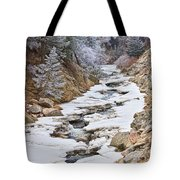 Boulder Creek Frosted Snowy Portrait View Tote Bag