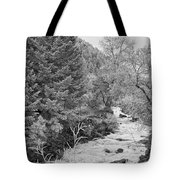 Boulder Creek Winter Wonderland Black And White Tote Bag
