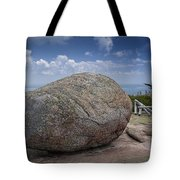 Boulder On Top Of Cadilac Mountain In Acadia National Park Tote Bag