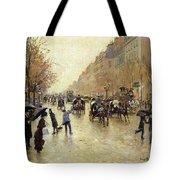 Boulevard Poissonniere In The Rain, C.1885 Oil On Canvas Tote Bag