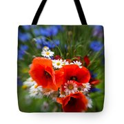 Bouquet Of Fresh Poppies Camomiles And Cornflowers Tote Bag