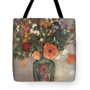 Bouquet Of Flowers In A Vase Tote Bag by Odilon Redon