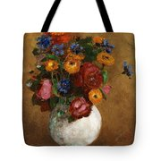 Bouquet Of Flowers In A White Vase Tote Bag