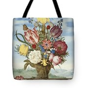 Bouquet Of Flowers On A Ledge Tote Bag
