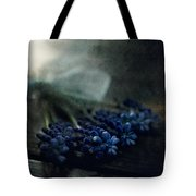 Bouquet Of Grape Hyiacints On The Dark Textured Surface Tote Bag