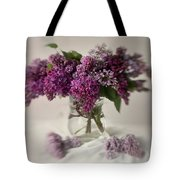 Bouquet Of Lilacs In A Glass Pot Tote Bag