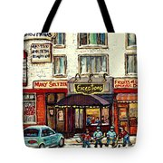 Boutique Mary Seltzer Dress Shop Cote St Luc Montreal Paintings Hockey Art City Scenes Cspandau Tote Bag