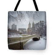 Bow Bridge Central Park In Winter  Tote Bag by Vivienne Gucwa