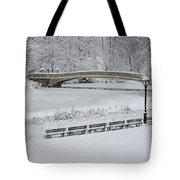 Bow Bridge Central Park Winter Wonderland Tote Bag