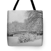 Bow Bridge In Central Park During Snowstorm Bw Tote Bag by Susan Candelario
