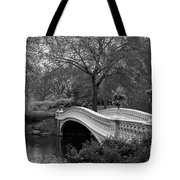 Bow Bridge Nyc In Black And White Tote Bag