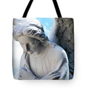 Bowing Male Angel With Blue Sky And Clouds Tote Bag