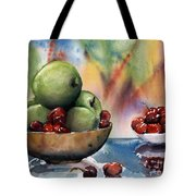 Apples In A Wooden Bowl With Cherries On The Side Tote Bag