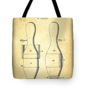 Bowling Pin Patent Drawing From 1938 - Vintage Tote Bag