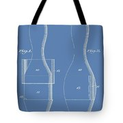Bowling Pins Patent On Blue Tote Bag