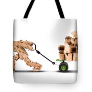 Box Character Moving Boxes On Trolley Tote Bag