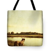 Boxer Dog By The Pond At Sunset Tote Bag by Stephanie McDowell