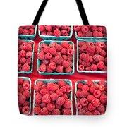 Boxes Of Fresh Red Raspberries Tote Bag