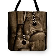 Boxing Gloves  Black And White Tote Bag by Paul Ward