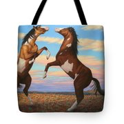 Boxing Horses Tote Bag