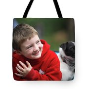 Boy, Age 6, Smiling With Jack Russell Tote Bag