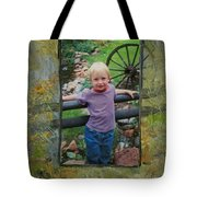 Boy By Fence Tote Bag