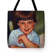 Boy In Blue Shirt Tote Bag