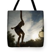 Boy Jumping Off Diving Board Tote Bag
