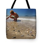 Boy Picking Seashells On The East Coast Tote Bag