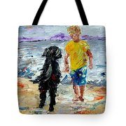 Boy Playing With The Dog Tote Bag