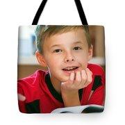 Boy Reading Book Portrait Tote Bag