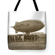 Boy Scouts And Goodyear Blimp Guarding Graf Zeppelin Los Angeles Airport Aug. 26 1929 Tote Bag