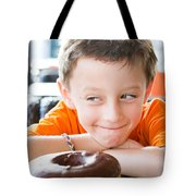 Boy With Donut Tote Bag